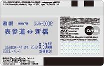 東京メトロ To Me CARD Prime PASMOの裏面(定期券機能)